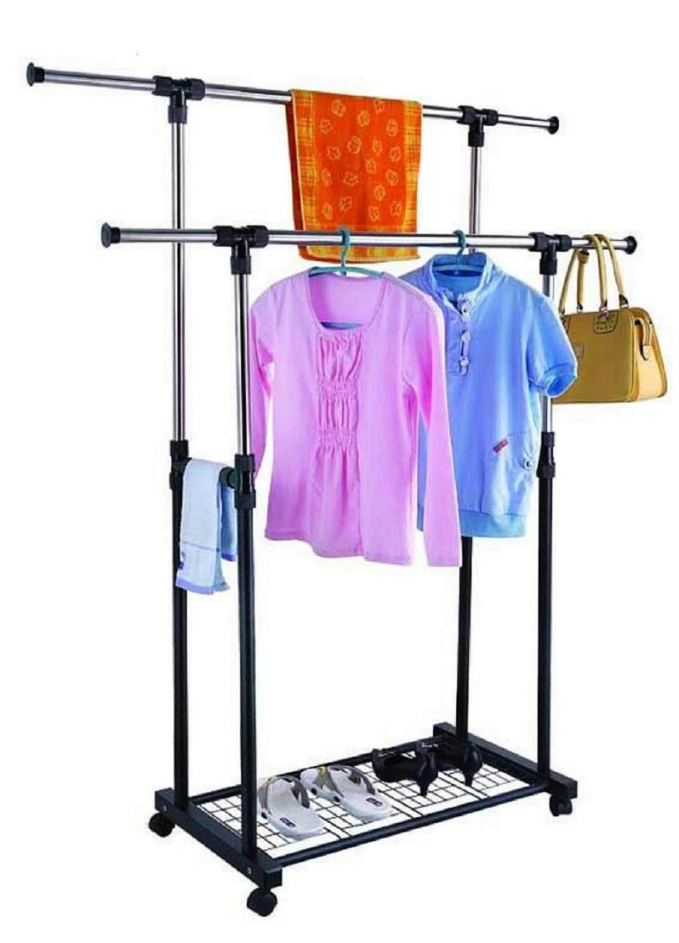 double-pole-telescopic-stainless-steel-clothes-rack-hf06-1