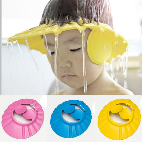 New-Adjustable-Baby-Kids-font-b-Shampoo-b-font-Bath-Bathing-Shower-Cap-Hat-With-Ear